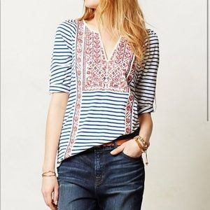 Anthro   Tiny embroidered striped blouse